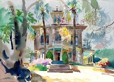 Ken Potter - John Muir House, Martinez, 1992, California art, original California watercolor art for sale, fine art print for sale, giclee watercolor print - CaliforniaWatercolor.com
