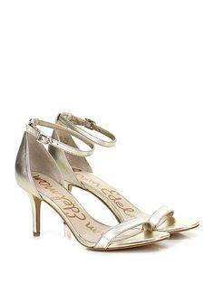 Sam Edelman - Sandalo alto - Donna - Sandalo alto in pelle laminata con cinturino alla caviglia e suola in gomma. Tacco 75. - PLATINO - € 160.00