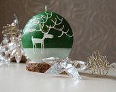 Regalo di Natale di natale candela - Discus verde dipinta a mano con alce bianco -, verde bianco candela di Natale - cervo bianco - inverno