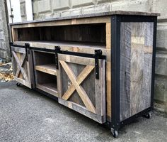 Rustic Industrial Barn Board Media Stand TV Stand w/ Sliding Barn Doors - Trend Industrial Furniture 2019 Steel Furniture, Pallet Furniture, Rustic Furniture, Home Furniture, Furniture Vintage, Furniture Stores, Furniture Makeover, Modern Furniture, Outdoor Furniture