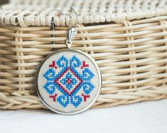 Ethnic Cross stitch necklace  - blue and red embroidery - Slavic traditional ornament - Handmade jewelry by Skrynka