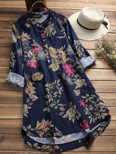 Plus Size Shirt Vestidos Women Floral Blouse ZANZEA 2019 Female Casual Button Shirts Vintage Floral Blusas Bohemian Tops Chemise Women's Dresses, Vintage Dresses, Casual Dresses, Fashion Dresses, Shift Dresses, Fashion Blouses, Dresses Online, Dresses With Sleeves, Cheap Blouses
