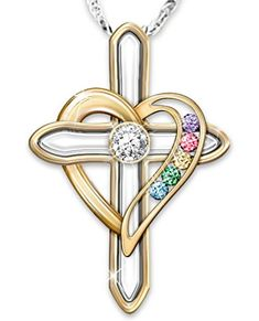 Gold cross and heart diamond necklace with up to 6 birthstones - beautiful gift for Mother's Day or Christmas...