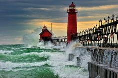 """""""September Gale"""" Grand Haven. Breakwater Lighthouse is located in the harbor of Grand Haven, Michigan. I love a lighthouse, Lighthouse Storm, Lighthouse Photos, Lighthouse Festival, Lighthouse Painting, Lake Michigan, Michigan Usa, Michigan Vacations, Michigan Travel, The Places Youll Go"""