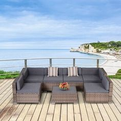 Sol 72 Outdoor™ Merlyn 11 Piece Sectional Seating Group with Cushions | Wayfair Wood Pergola, Patio Gazebo, Wood Patio, Outdoor Pergola, Backyard Patio, Backyard Ideas, Wicker Patio Furniture, Outdoor Furniture Sets, Rattan Sofa