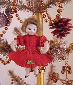 ANTIQUE Christmas Ornament Spun Cotton Little Girl Compo Head Crepe Paper c.1900