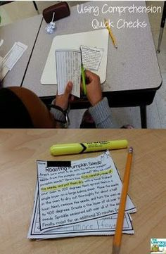 Using Quick Comprehension Checks: Easy tips for organizing materials for checking reading comprehension Reading Comprehension Strategies, Reading Resources, Reading Activities, Teaching Reading, Teaching Ideas, Reading Games, Reading Fluency, Creative Teaching, Learning