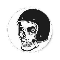 Skull with helmet classic round sticker  $5.55  by ARTBRASIL  - cyo customize personalize unique diy