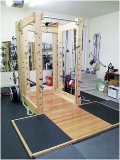 homemade power rack and lat tower  home gym design diy