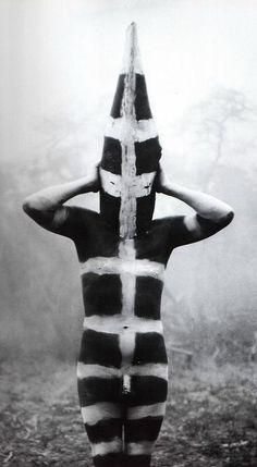 Hombre Selk'nam, ceremonia Hain, 1923