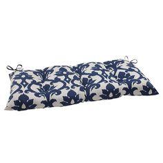 Pillow Perfect Outdoor Bosco Wrought Iron Loveseat Cushion - Navy