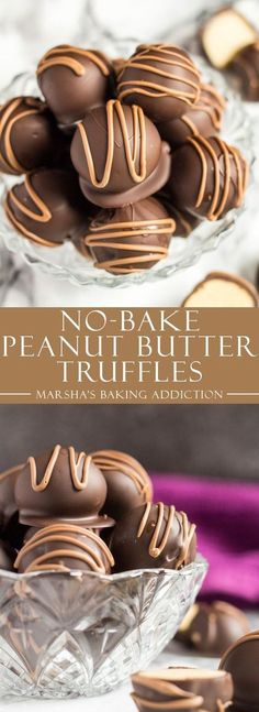 No-Bake Peanut Butter Truffles - Deliciously creamy bite-sized peanut butter balls, coated with dark chocolate, and drizzled with milk chocolate! via @marshasbakeblog