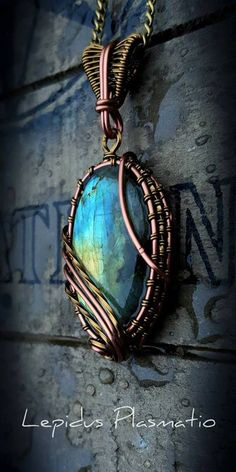 Antique copper and brass wire wrapped Labradorite pendant by Lepidus Plasmatio