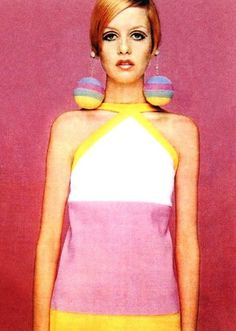 Pink Twiggy 1960s mod vintage fashion, swinging sixties, Twiggy hair
