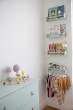 First-Time Home Buyers Tackle a Apartment Reno seafoam green 4 stacked bottom upside-down clothes rod The post First-Time Home Buyers Tackle a Apartment Reno appeared first on Babyzimmer ideen. Baby Bedroom, Baby Room Decor, Nursery Room, Girls Bedroom, Bedroom Decor, Ikea Nursery, Ikea Bedroom, Playroom Decor, Bedroom Furniture