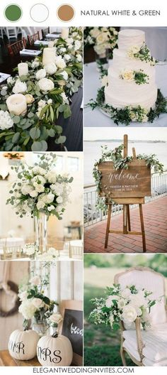 chic elegant and rustic white and green wedding color ideas 2017 trends