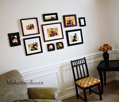 How to create and hang a picture collage.  She made paper cut-outs to arrange on the wall first then hung pics...smart gal.