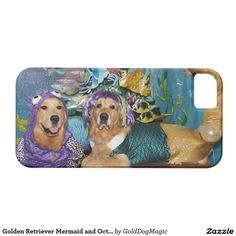 Golden Retriever Mermaid and Octopus Under the Sea iPhone 5 Covers