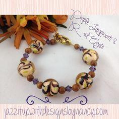 Ladies Purple Brown Earth tone Beaded Bracelet with Swarovksi Crystals #bmecountdown