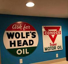 Original Conoco & Wolf's Head Motor Oil Signs