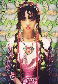 long braids with ribbons, black hair, floral crown, frida kahloe inspired, fka twigs