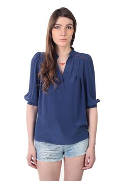 I love this relaxed Wide Sleeve Silk Blouse. So breezy