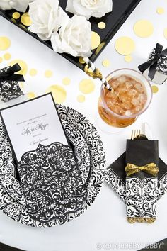 Keep your wedding shower theme classy with black, white, and sparkling gold.