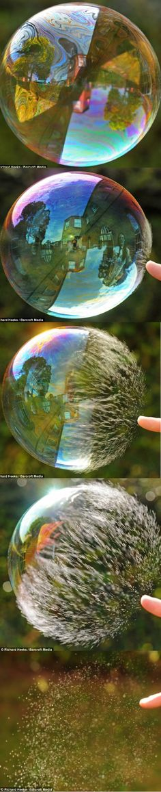 he: To the human eye the bursting of a bubble is a simple affair. One prod of a finger and - pop! - it's vanished in a split second. Super-slow-motion pictures show soap bubble bursting in stunning detail! by Richard Heeks
