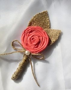 Coral Boutonniere - Rustic Wedding - Burlap Coral Corsage Pin - Groomsmen - Groom - Burlap Boutineers - Lapel Pin on Etsy, $8.00