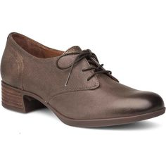 Dansko Women's Louise Stone Burnished Nappa Oxford Shoes ($150) ❤ liked on Polyvore featuring shoes, oxfords, mid heel shoes, stone shoes, mid-heel shoes, arch support shoes and lace up oxfords