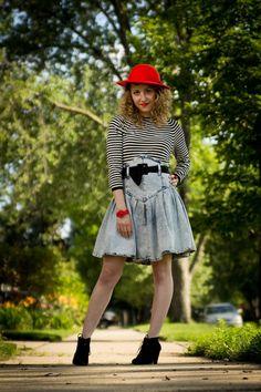 80s High Waist Denim Skirt / 80s skirt /80s denim / 1980s