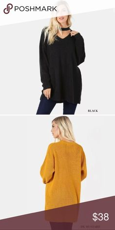 Black Oversized Tunic Choker Knit Sweater You'll want one in every color! Featuring a over sized tunic sweater with choker neck. Long tunic length. Long sleeves. High quality that you'll love!   Made of: 88% Acrylic & 12% Polyester  US SIZING   ** Please note these are special order and will ship in approx. 15 business days ** Sweaters V-Necks
