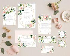 Floral Geometric Wedding Invitation And Rsvp Card Wedding Invitation Suite, Invitation Set, Invitation Design, Spring Wedding, Boho Wedding, Floral Wedding, Luxury Wedding, Wedding Cake, Wedding Flowers