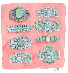Antique turquoise cuffs at the flea market by Caitlin McGauley.