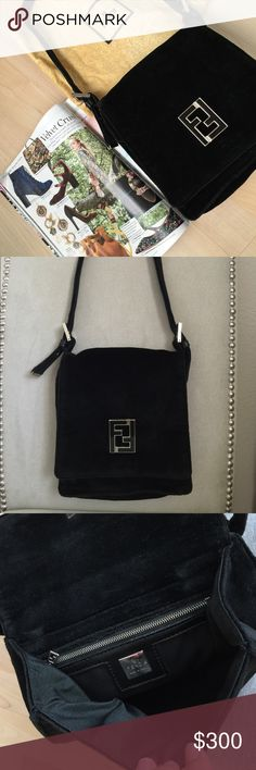 """Fendi vintage black velvet shoulder bag This purse has double covers with a smaller flap on the 2nd layer. It also features a zipper pocket inside to hold the valuables and back pocket for easy storage. The shoulder strap is adjustable 10""""-12"""". It comes with original dust bag. It's a rare find and totally on trend now. Fendi Bags Shoulder Bags"""