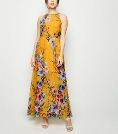 5794593774a Blue Vanilla Yellow Floral Halterneck Maxi Dress