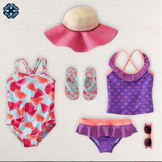Girls Swimwear beachwear flatlay