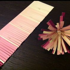 Paint chip crafts --for grandparents' day pencil toppers in flowerpot pencil cups
