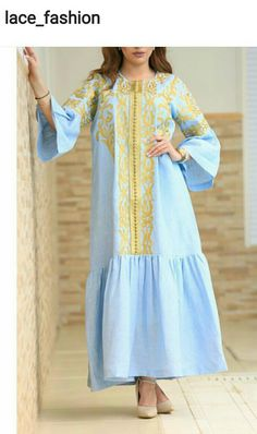 Sky blue and gold Abaya Fashion, Modest Fashion, Fashion Outfits, African Fashion Dresses, African Dress, Shift Dresses, Vestidos Color Azul, Abaya Mode, Floryday Vestidos