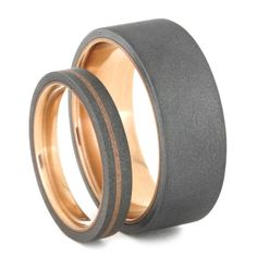 14k Rose Gold Wedding Band Set Sandblasted Titanium Rings His And Hers Matching Bands Womens