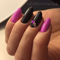 Love the pink and black polish idea together