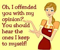 Oh I offended you with my opinion. You should hear the ones I keep to myself.
