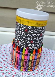 Back To School/Teacher Appreciation Pencil Holder ~  This pencil holder craft is really simple to do. Great gift for the beginning of the school year, a great Christmas presents and Teacher Appreciation gifts.   How To @: http://optimisticmommy.com/wp-content/uploads/2013/08/back-to-school-teacher-appreciation-pencil-holder-craft.jpg