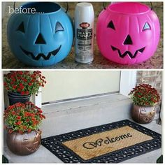 Spray painted plastic Jack-O-Lantern flower pots.