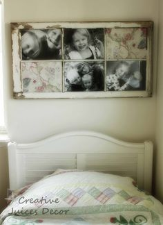 DIY::Repurposing a window frame into a picture frame.  Now I am on a mission to find an old window frame