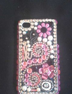 Bling Swirly IPhone 4 Cell Phone Custom Case by GlitzItUpShop, $25.00