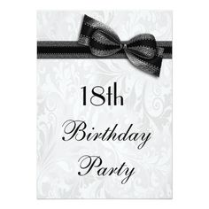 18th Birthday Party Damask and Faux Bow Card