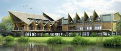 'riverside clubhouse' designed by alexey chikovsky and emission-zero architects built by fram near stratford-upon-avon, england, UK Stratford Upon Avon, Timber Frame Homes, Space Architecture, Medieval Town, Exotic Pets, Vikings, Exterior, Mansions, Architecture