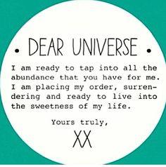 Dear Universe.. Law of attraction #lawofattraction #successwithkurt #kurttasche I like that!