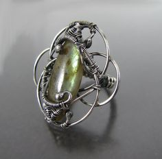 Stylish,Silver 925 ring, Oxidized silver, Wire wrapped rings, Wire wrapped jewelry, Ring,  Cool ring, Fantasy jewelry, OOAK, Elven